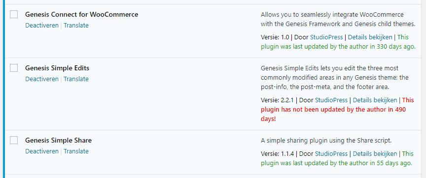 Plugins tegen verouderde WordPress plugins