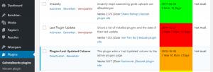 Verouderde WordPress plugins - last updated column
