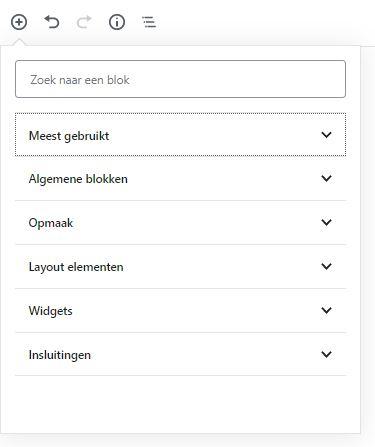 onderverdeling soorten blokken - Handleiding WordPress Gutenberg