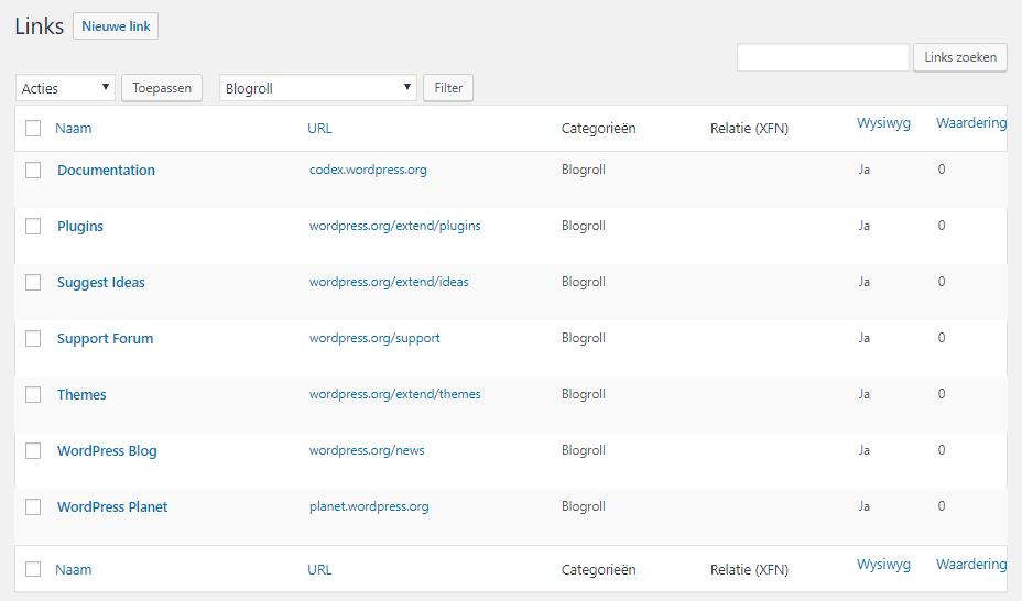 """onderdeel """"Links"""" verwijderen - Link manager"""