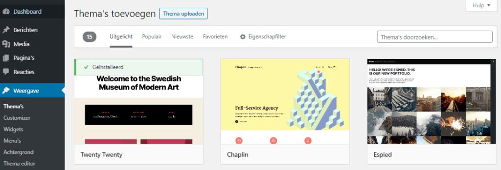 Officiële bibliotheek gratis thema's - WordPress thema installeren