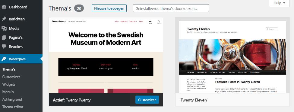 Inloopkast geïnstalleerde thema's - WordPress thema installeren