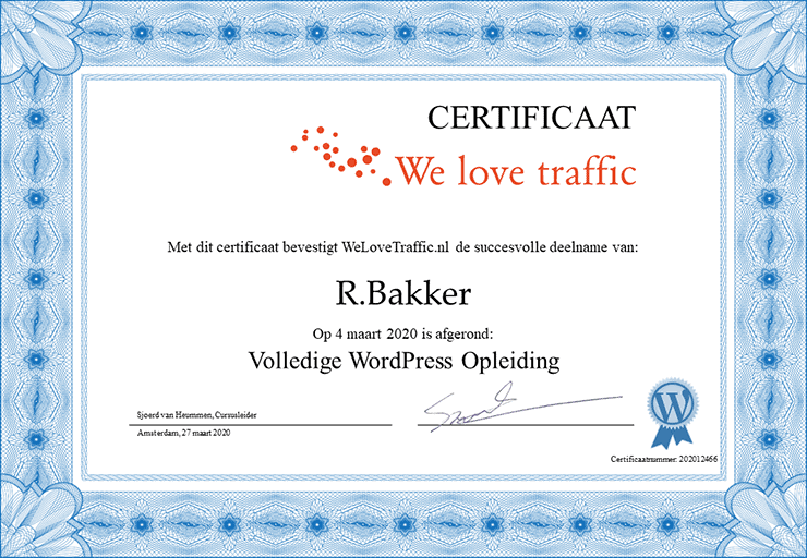 certificaat van de cursus WordPress opleiding