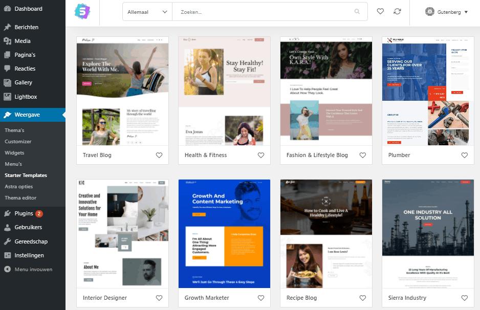 Astra thema kant en klare vormgeving voor je WordPress website