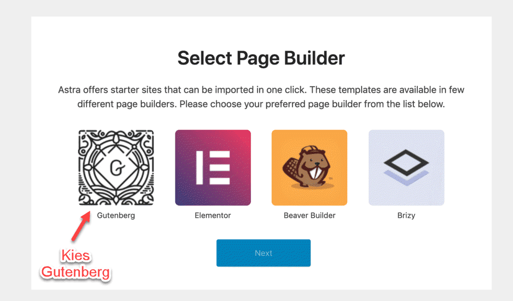 selecteer pagebuilder astra theme